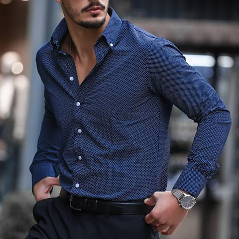 Casual Lapel Single-Breasted Long-Sleeved Top