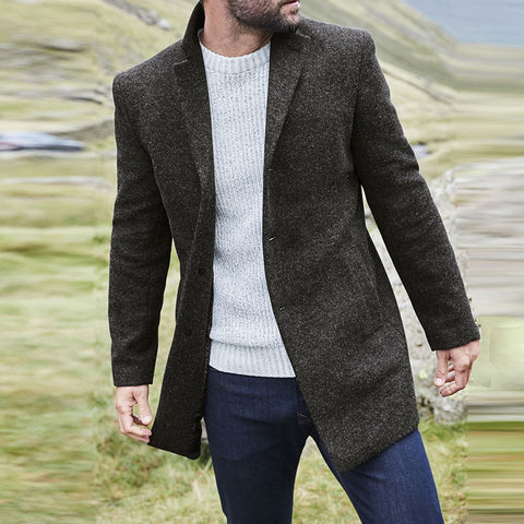 Mens Classic Casual Buttoned Coat