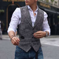 Men's Casual Check Printed Pocket Vest