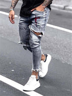 Men's Casual Printed Hole Jeans