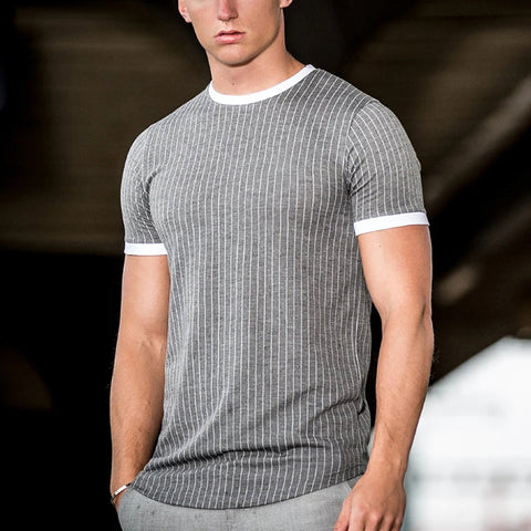 Men's Casual Vertical Stripe Round Neck Short Sleeve T-Shirt