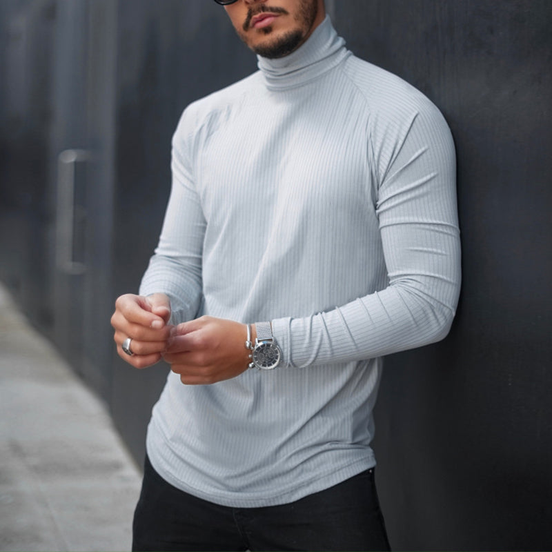 Men's Fashion Casual Pure Color Turtleneck Long Sleeve T-Shirt