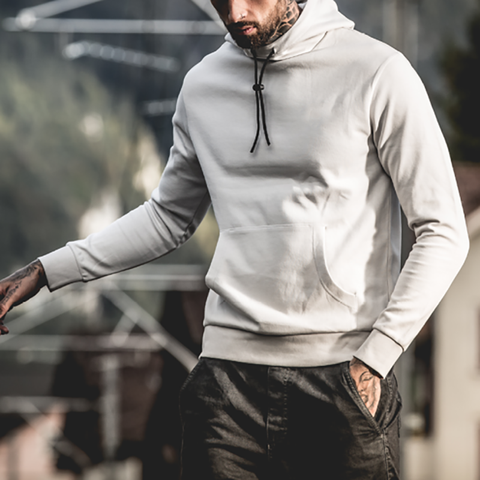 Fashion solid color men's hooded sweatershirt