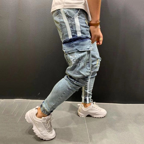 Fashion knee hole zipper stretch men's jeans