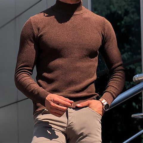 Men's Classic Casual Solid Color Turtleneck Pure Color Sweater