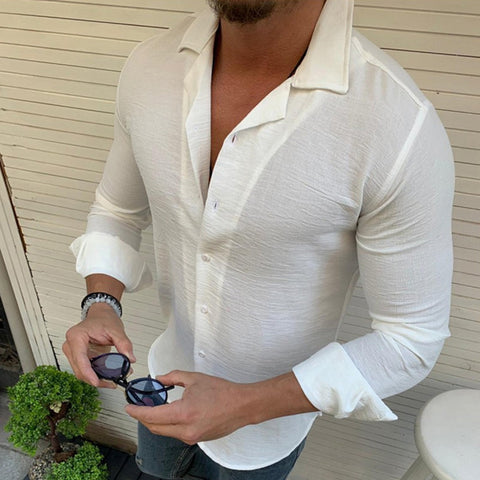 Men Casual Long Sleeve Solid Color Lapel Shirt