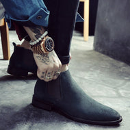 Men's High Leather Pure Color Chelsea Boots