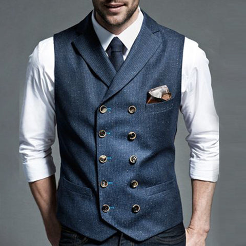 Formal Pure Color Decorative buckle Men's Vest