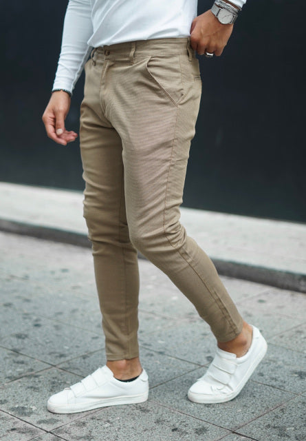 Men's Solid Color Tight Fit Casual Pants
