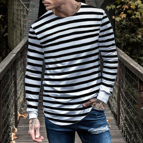 Mens Fashion Casual Striped T-Shirt