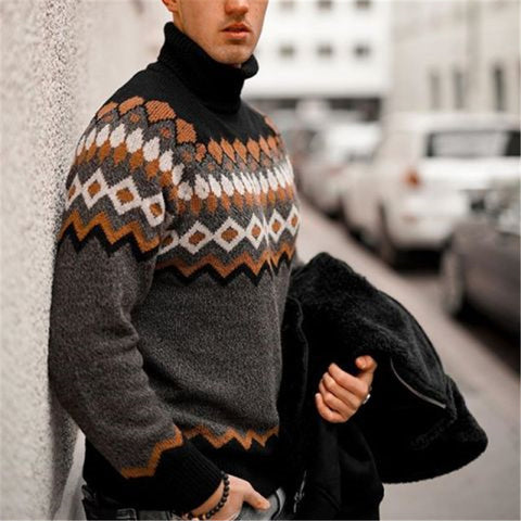 Men's Fashion Retro Stacked Collar Printed Sweater