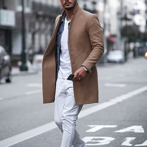 Men's solid color lapel collar single-breasted overcoat