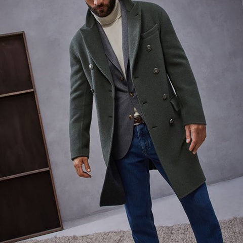 Men's Fashion Solid Color Double Breasted Coat
