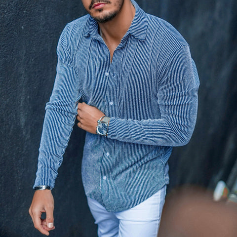 Men's Fashion Leisure Solid Color Corduroy Shirt