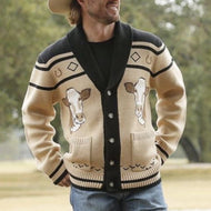 Men's Stylish Cow Print Lapel Single Breasted Knit Sweater