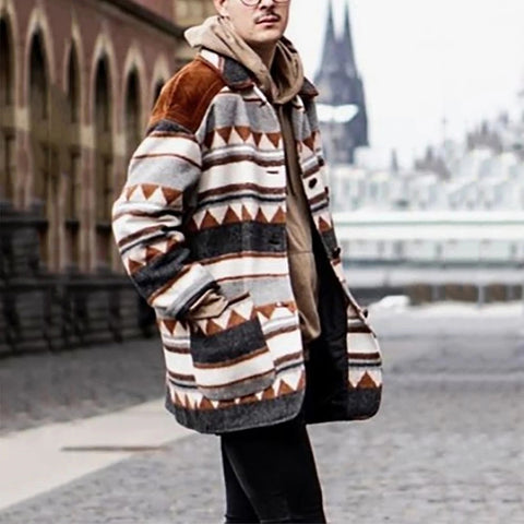 Men's Casual Printed Color Single-breasted Long Sleeve Coat