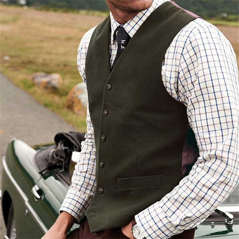 Double Pocket Single-Breasted Vest