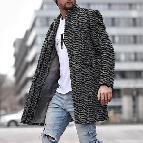 Stylish Texture Long Warm Jacket