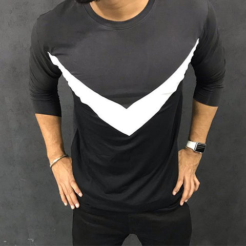 Men's Fashion Casual Long Sleeve Round Neck Colorblock T-Shirt