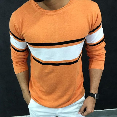 Men's Casual Round Collar Contrast T-Shirt