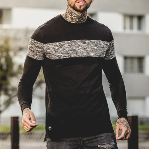 Urban Round Neck Dark Striped Long Sleeve T-Shirt