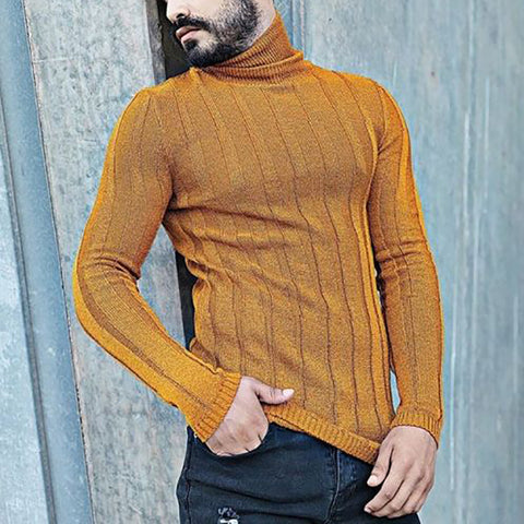 Men's Fashion Solid Turtleneck Slim Sweater