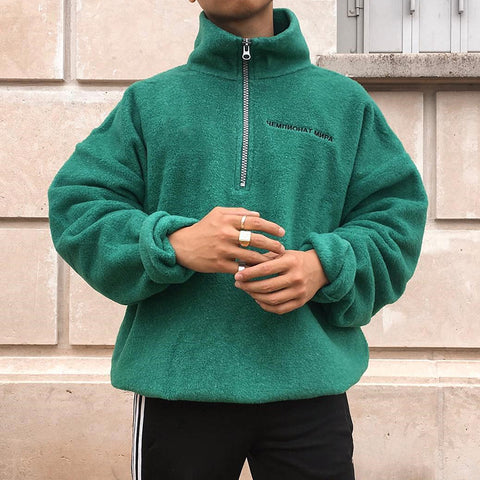 Stand collar zipper solid color sweater