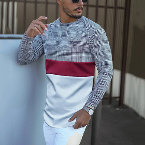 Casual men's round collar splice T-shirt