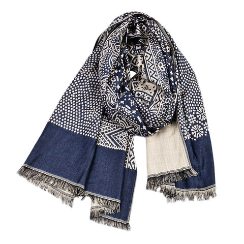 Man's Ethnic Cotton and Linen Woven Scarf