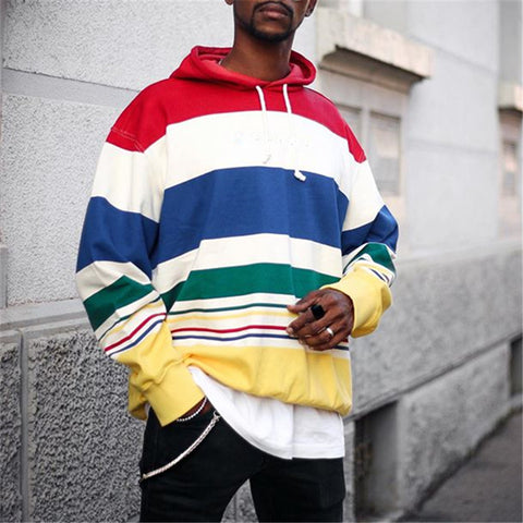 Men's Stylish Color Stripst Hooded Sweatshirt