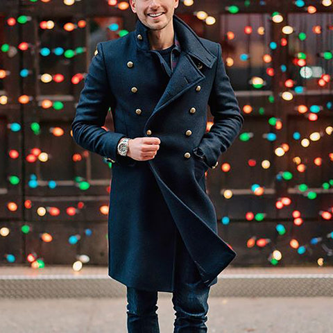 Men's Fashion Double-Breasted Solid Color Coat