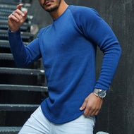 Men's fashion casual pure color round neck sweater