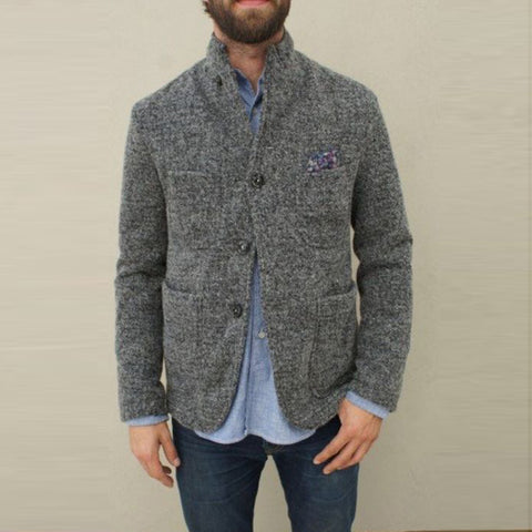 Casual stand collar grey long sleeve button jacket