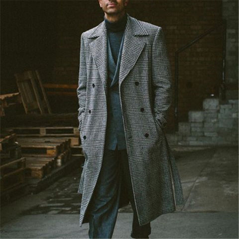 Men's Double-breasted Plaid Overcoat