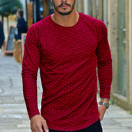 Male fashion wave point round neck long-sleeved T-shirt