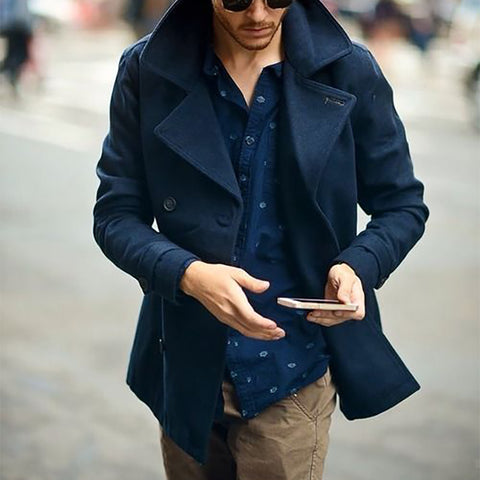 Men's Fashion Lapel Double-Breasted Woolen Coat