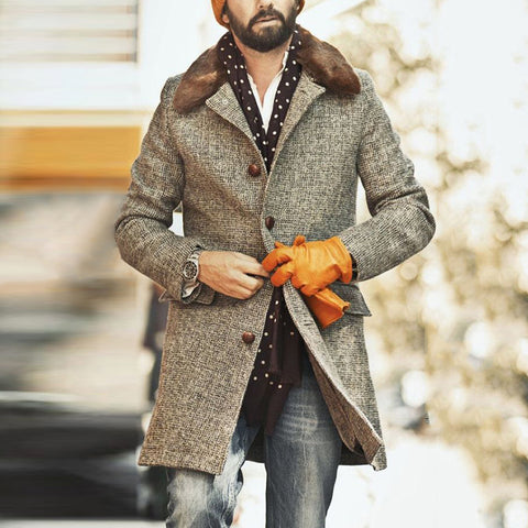 Men's Classic Casual Pure Color Long Sleeved Coat