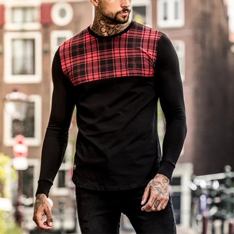 Men's Casual Plaid Colorblock Top