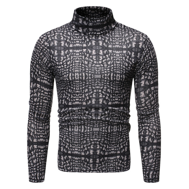 Casual Slim Long Sleeve Turtleneck Print T-Shirt