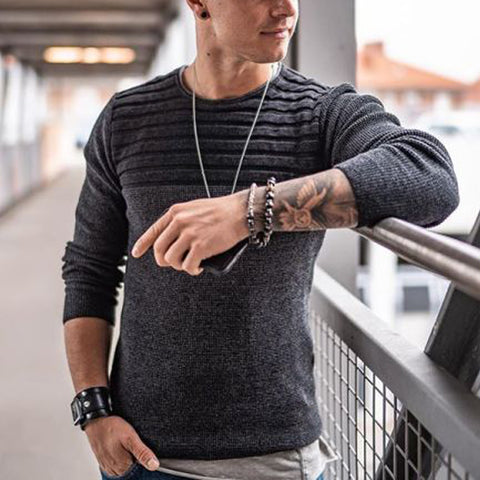 Men's Fashion Striped Round Neck Long Sleeve Knit Sweater