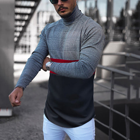 Casual men's hight collar spell color T-shirt