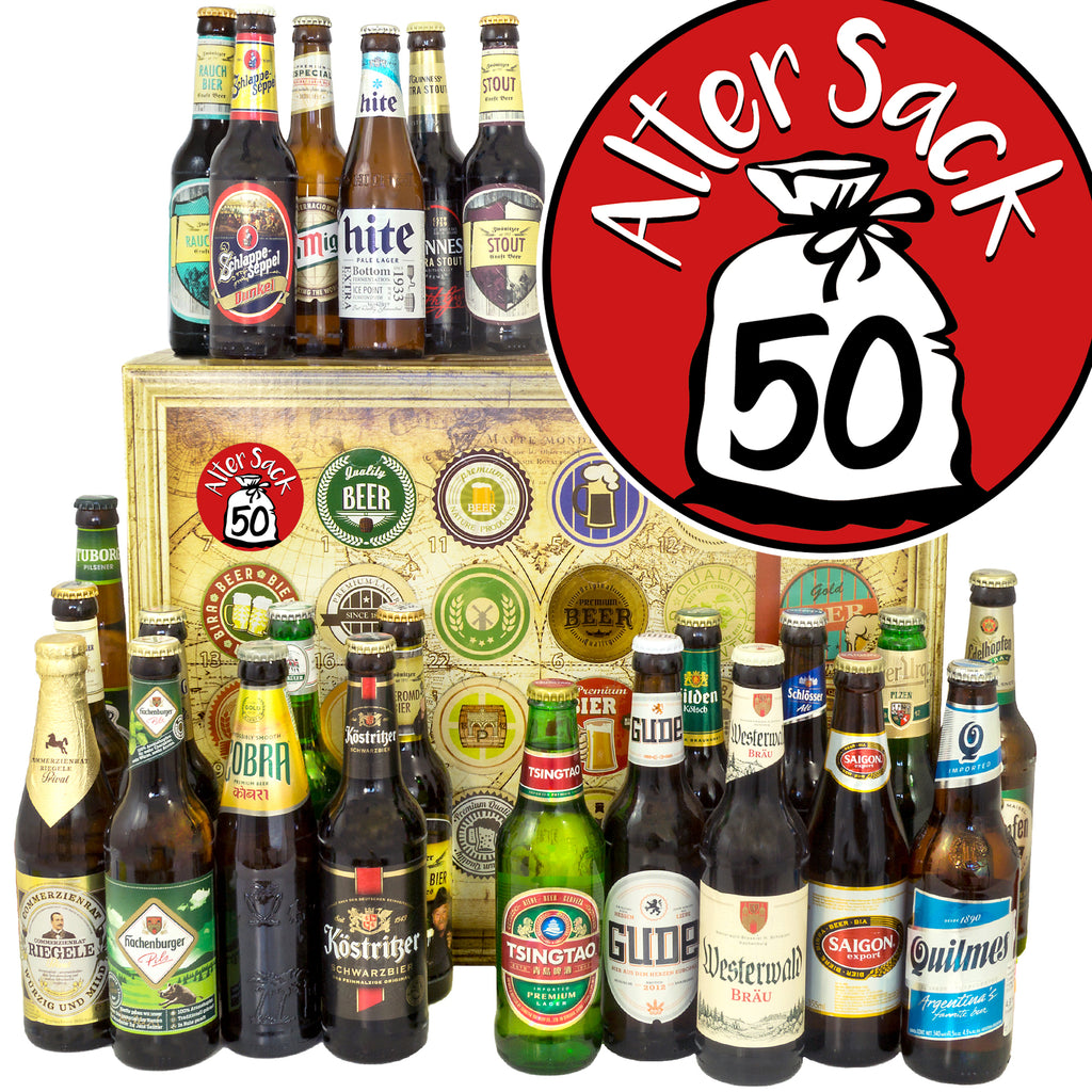 Alter Sack 50 | 24 Biersorten Bier International und Deutschland | Box