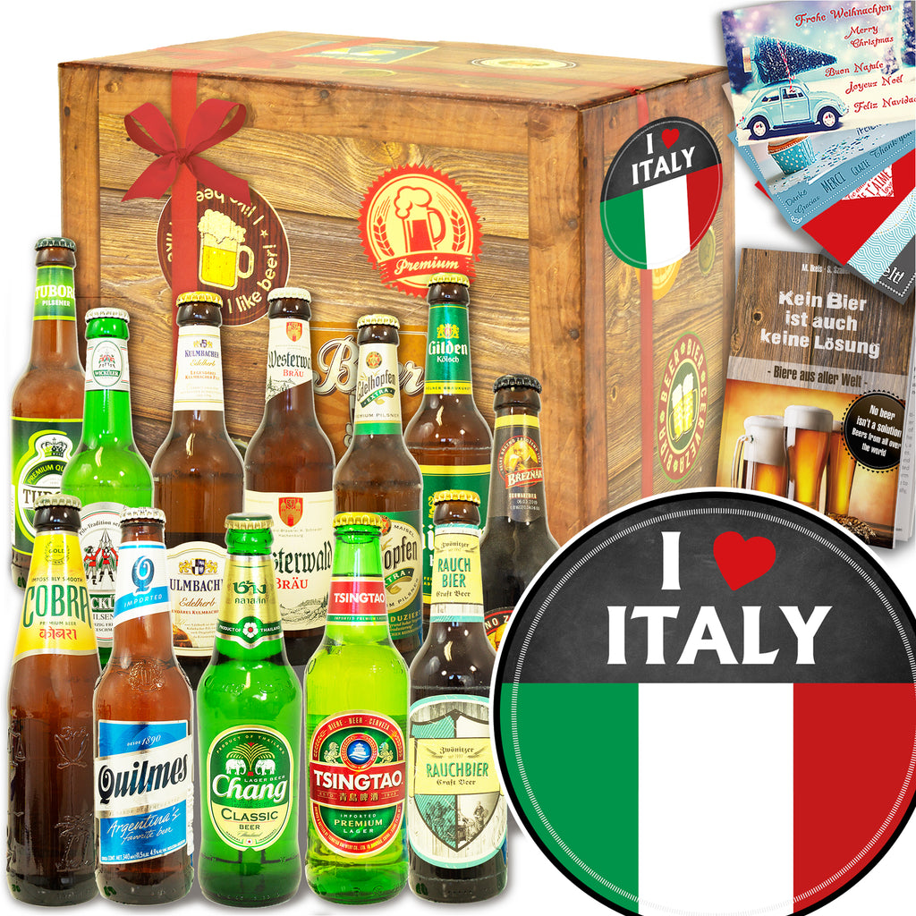 I love Italy | 12x Bier International und DE | Bierset
