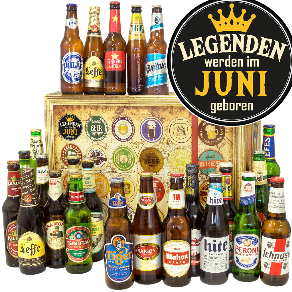 Legende Juni | 24 Biersorten Bier International | Geschenk Box