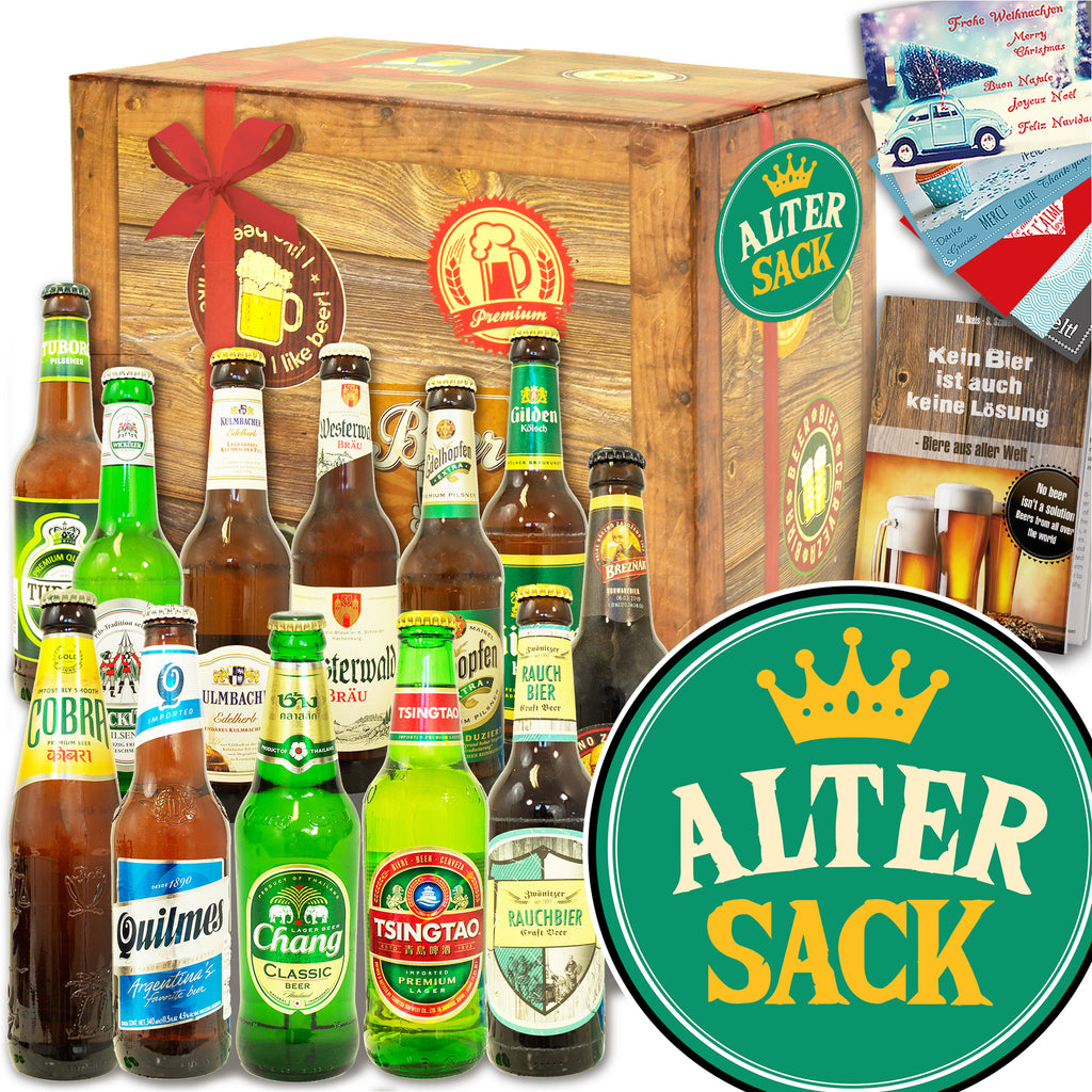 Alter Sack | 12 Flaschen Bier International und DE | Bierverkostung