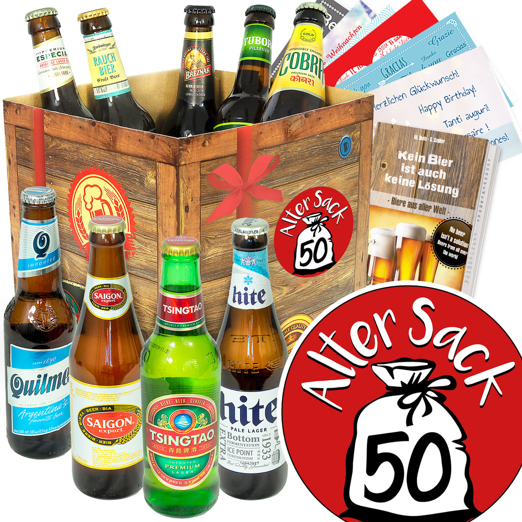 Alter Sack 50 | 9x Bier International | Bierpaket