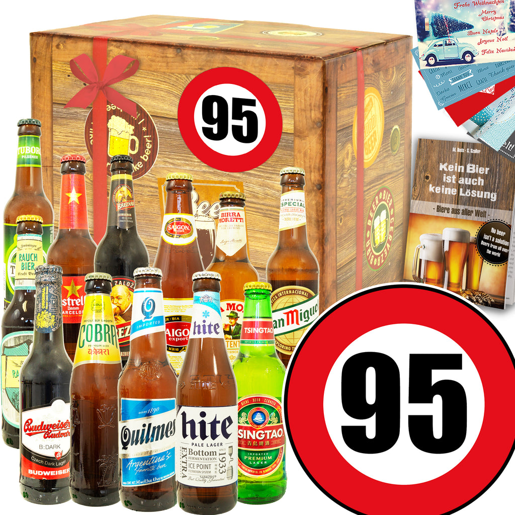 Zahl 95 | 12x Bier International | Geschenkbox