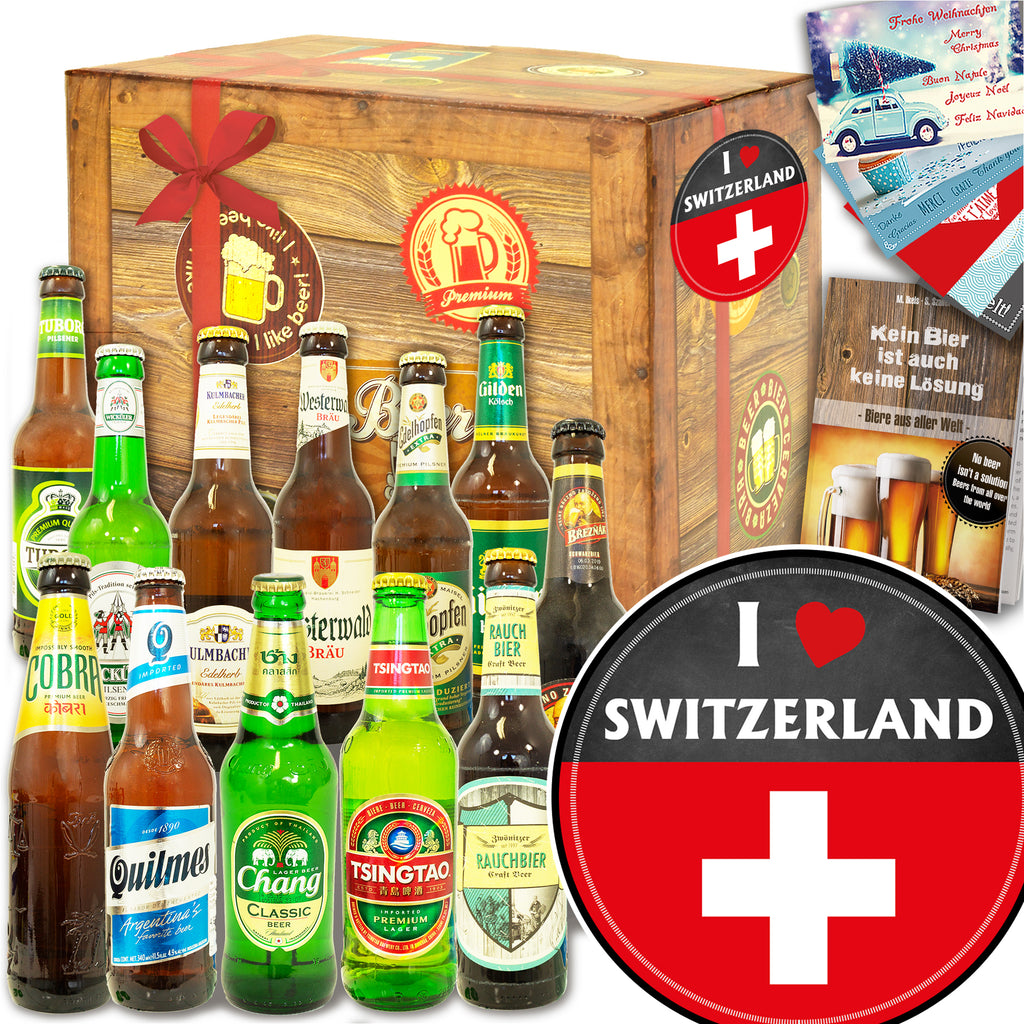 I love Switzerland | 12 Biersorten Bier International und DE | Geschenkset