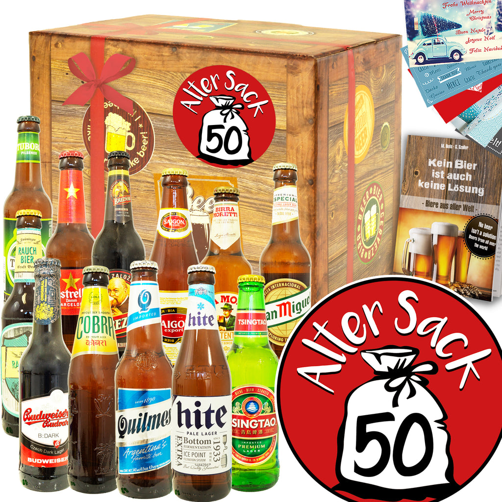 Alter Sack 50 | 12x Bier International | Bierpaket