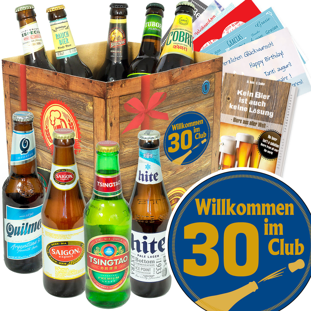 Wilkommen im Club 30 | 9 Flaschen Bier International | Bierpaket
